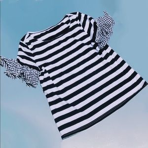 Black & White Striped Shirt With Gingham Sleeves